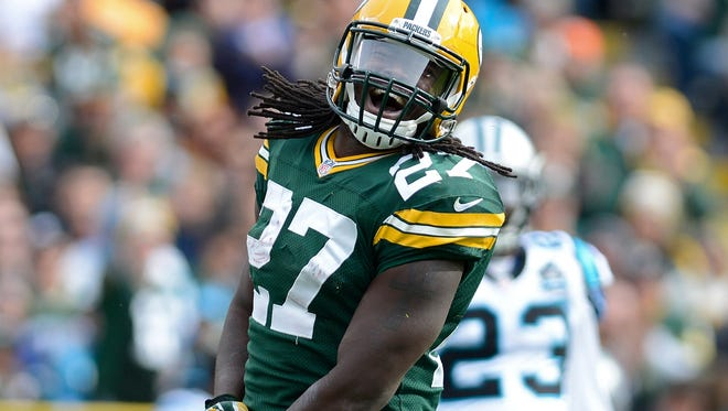 Packers running back Eddie Lacy celebrates a gain in the second quarter against the Panthers at Lambeau Field in Green Bay on Oct. 19, 2014.