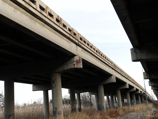 Crews plan to tear down and replace these two bridges over Goddard Road with four smaller structures.