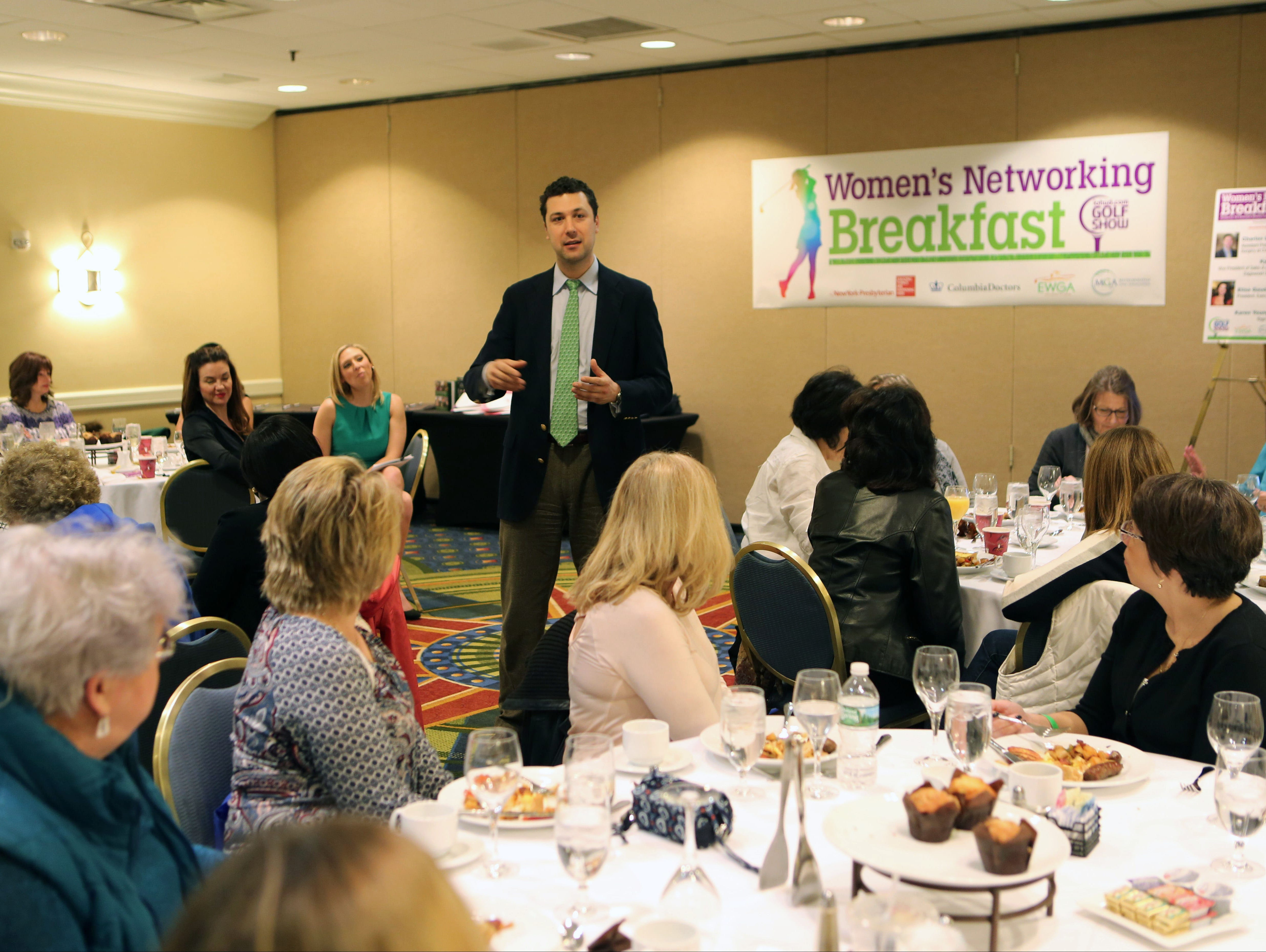 Charles M. Jobin, M.D. addresses orthopedic concerns during the Women's Networking breakfast at the lohud.com Golf Show at the Westchester Marriott in Tarrytown, March 12, 2016. The show continues Sunday, March 13, 2016 from 9:00 a.m. till 4:00 p.m.