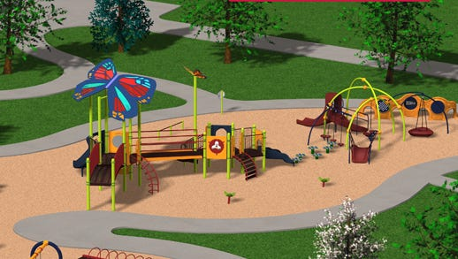 An artist's rendering of the proposed Common Ground playground for children of all abilities being planned for a site on U.S. 42 in Mason.