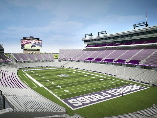 Artist rendering of renovated Amon G. Carter Stadium, home of the TCU Horned Frogs