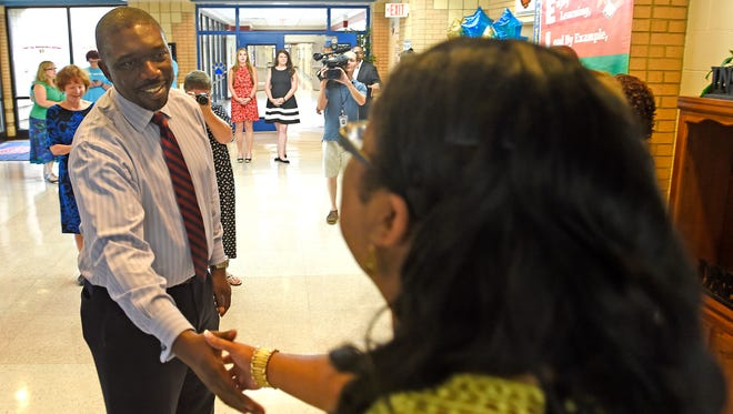 Director of Schools Dr. Shawn Joseph meets and greets students, teachers, staff, principals and families of Tom Joy Elementary.