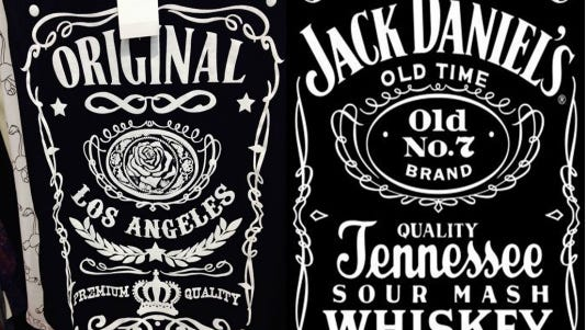 A side-by-side comparison of the shirt (left) and a Jack Daniel's label.