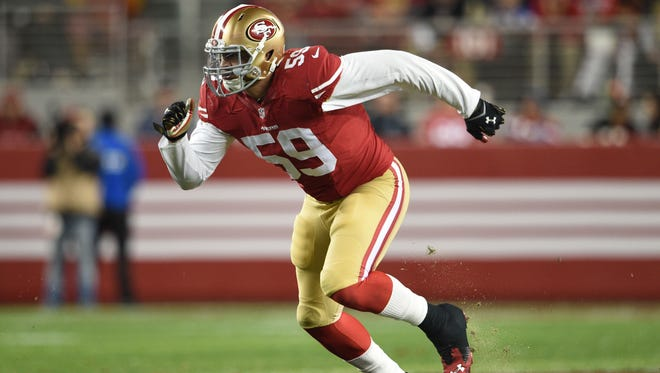 San Francisco 49ers outside linebacker Aaron Lynch, of Island Coast High during the fourth quarter against the San Diego Chargers at Levi's Stadium.