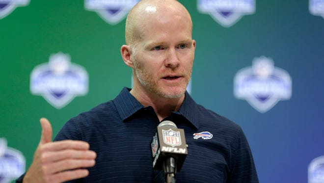 Buffalo Bills head coach Sean McDermott speaks during a press conference at the NFL Combine in Indianapolis Wednesday.