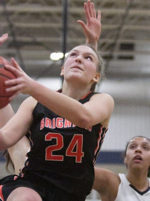 Brighton's Sophie Dziekan scored a game-high 13 points to go with 11 rebounds and three steals in a 36-22 victory over Hartland on Tuesday, Jan. 16, 2018.