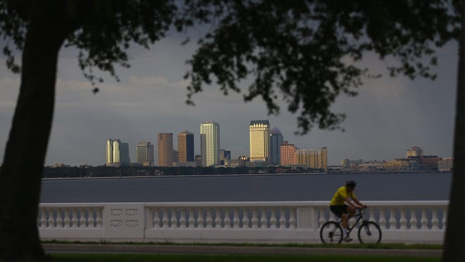 "The city of Tampa's downtown skyline is seen on July 12, 2012. Tampa is one city researchers say is especially vulnerable to ""grey swan"" storms."