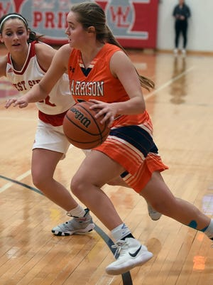 Harrison sophomore Sydney Jacobsen drives to the basket for two of her 34 points in Thursday's win over West Lafayette.