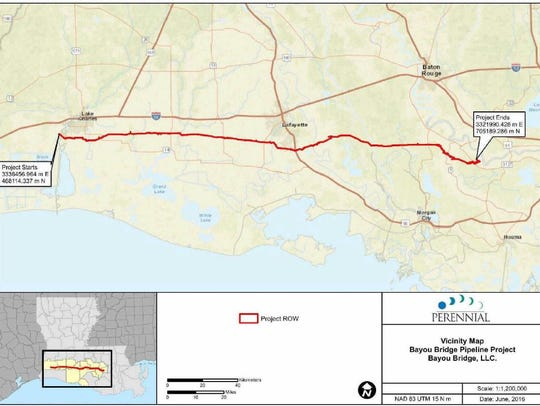 A screenshot of the proposed route for the Bayou Bridge