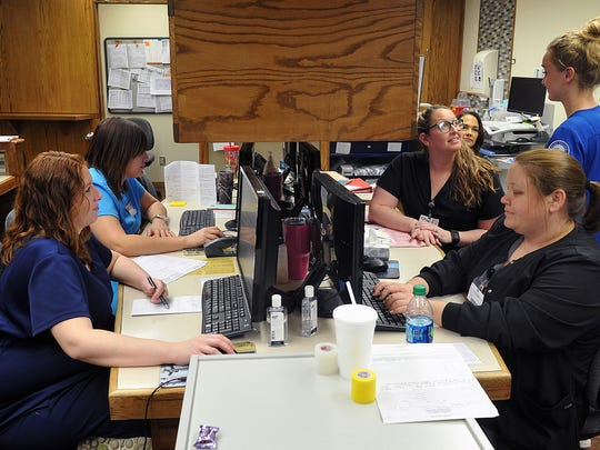 The nurses station is a hub of activity at Seymour