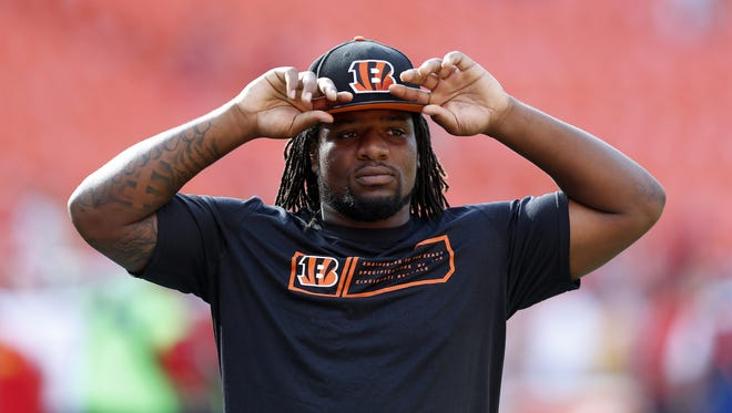 Cincinnati Bengals outside linebacker Vontaze Burfict (55) takes the field prior to their game against the Kansas City Chiefs at Arrowhead Stadium.