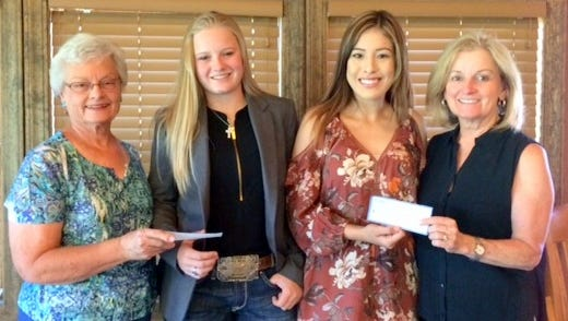 The P.E.O. Sisterhood, Chapter AR Ruidoso, gave scholarships to two outstanding Lincoln County seniors. Pictured from left are Carol Heath-P.E.O. President; Kylie Pruett, Capitan High graduate; Alejandra Esparza, Ruidoso High graduate, and Linda Tobkin-P.E.O. Treasurer. Kylie is the daughter of Kelli and Tate Pruett and will be attending New Mexico State University to study Kinesiology and Science Education. Alejandra, the daughter of Adela and Salvador Esparza, is going to Texas Tech for a degree in Biochemistry. P.E.O. is an international philanthropic  organization that supports women to helps them achieve their educational goals.
