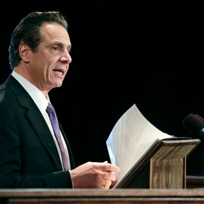 Gov. Andrew Cuomo delivers his State of the State address at the Empire State Plaza Convention Center on Wednesday, Jan. 13, 2016, in Albany