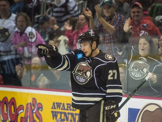 Aaron Ness celebrates his goal that helped the Hershey