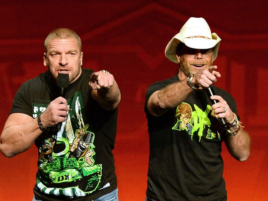 "Triple H (left) and Shawn Michaels are both members of D-Generation X, which will take on Knox County Mayor Glenn Jacobs and The Undertaker on Friday at ""WWE Crown Jewel."""