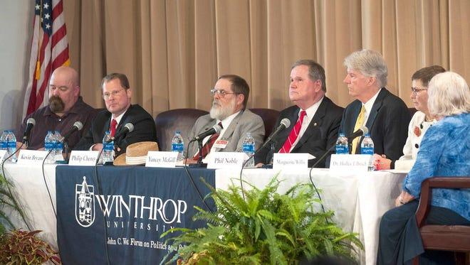 Candidates meet at a gubernatorial debate Thursday at Winthrop University. Candidates meet at a gubernatorial debate Thursday, April 19, 2018, at Winthrop University.