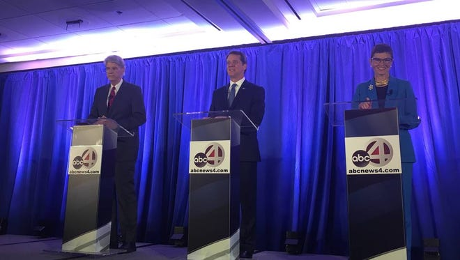 The three Democratic candidates for S.C. governor squared off in a debate May 15, 2018, at the College of Charleston. Pictured from left is Charleston businessman Phil Noble, state Rep. James Smith, D-Richland, and Florence attorney Marguerite Willis.