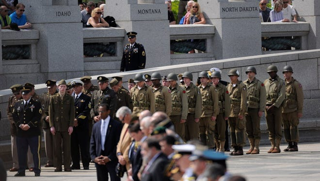 National World War II Memorial V-E Day 70th anniversary ceremony in Washington in May 2015.