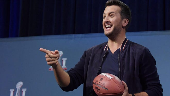Recording artist Luke Bryan during the Super Bowl LI pregame show press conference at the George R. Brown Convention Center.