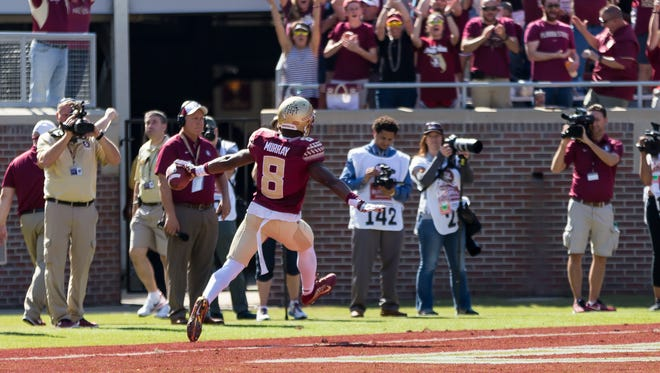 Florida State junior wide reciever Nyqwan Murray (8) celebrates a 51-yard touchdown catch during the first quarter of the Seminoles 27-24 victory over Syracuse at Doak Campbell Stadium.
