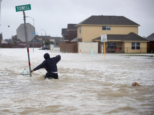 A person walks through a flooded street with a dog
