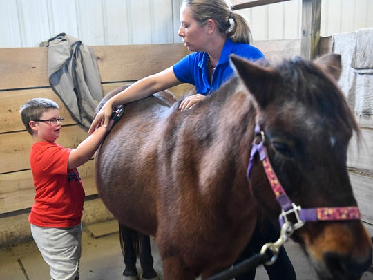 Stacy Denton shows Wesley Clements, who has Williams Syndrome, how to brush down Daisy the pony before going for a ride at Healing Reins Therapeutic Riding located at Blue Moon Stables in Corydon,  Ky., Nov. 11, 2016.