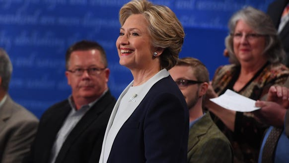 Democratic presidential candidate Hillary Clinton during