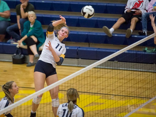 FILE -- Delta's Molly Hunt goes in for the attack during game three of the IHSAA Volleyball Sectional on Oct. 14, 2017, at Delta High School. Delta would beat Jay County 3-0.
