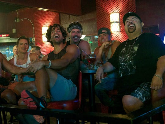 Matt Bomer, Adam Rodriguez, Joe Manganiello, Channing Tatum and Gabriel Iglesias bond in 'Magic Mike XXL.'