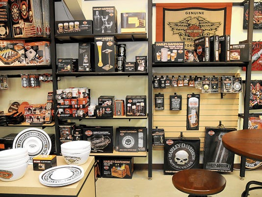 """Robin Zileniski-Sun News Barnett's Las Cruces Harley-Davidson offers a selection of items with the company brand in the store's """"Man Cave"""" shopping area Wednesday."""