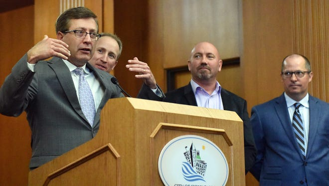 Sioux Falls mayor Mike Huether talks about  a Holiday Inn Hotel and Suites and Crooked Pint Ale House will be built at Elmwood Golf Course during a press conference at City Hall on Wed. on March 16, 2016.