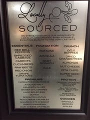 A sign at Chomp salads in the Basement shops in downtown Reno lists the ingredient categories from which customers choose to build their salads or wraps.