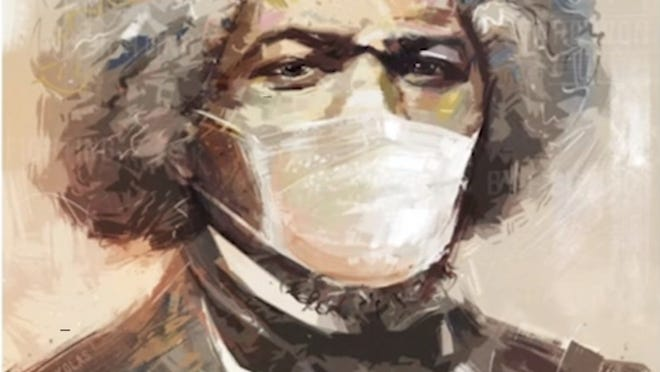 """An annual multi-lingual reading in Brockton of a speech by African American abolitionist, orator and statesman Frederick Douglass, called """"What to the Slave Is the Fourth of July?"""", is being held in podcast form for 2020 as a result of the coronavirus pandemic. This illustration shows an image of Douglass wearing a mask."""