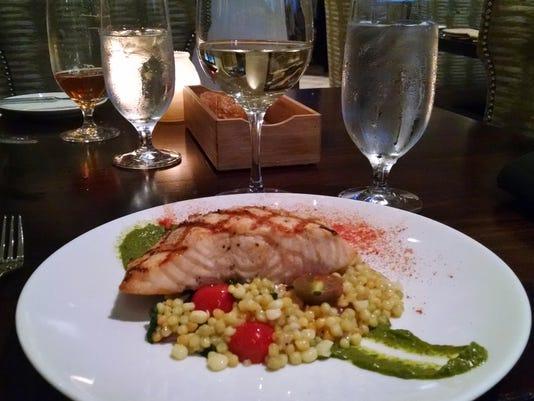 TDS NBR WV Food 0828 bluEmber - grilled salmon, cous cous horizontal