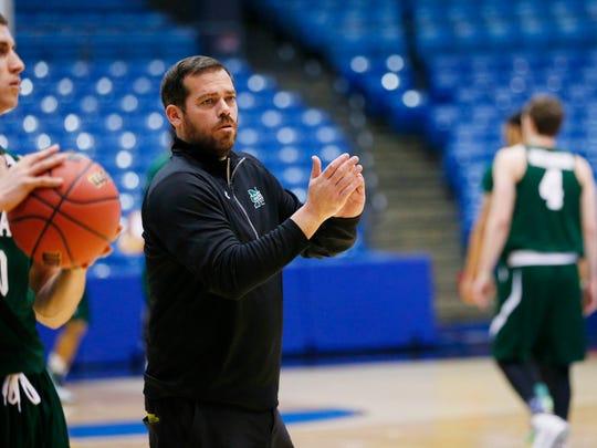 Mar 16, 2015; Dayton, OH, USA; Manhattan Jaspers head coach Steve Masiello reacts during practice at UD Arena. Mandatory Credit: Rick Osentoski-USA TODAY Sports