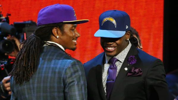 Trae Waynes, left, and Melvin Gordon, right, have been best friends since middle school and played together at  Kenosha Bradford High School.