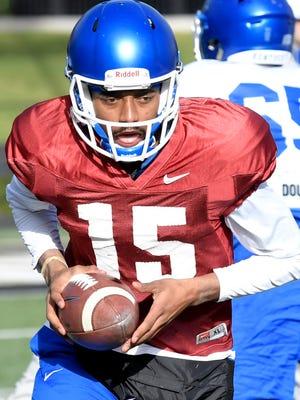 University of Kentucky quarterback Stephen Johnson (#15) practices at Vanderbilt Stadium on Tuesday, Dec. 26, 2017.  Kentucky plays Northwestern in the Music City Bowl.
