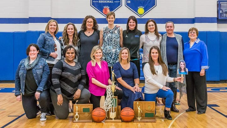 Wyoming High School 1995-1996 girls' Division III state basketball champions, from left: Front, Sara Verhaeghe, Tanea Lowe, Blaire Lenning, Leila Wormuth, Abby Mouch, Cheryl Robin; Back, assistant coach Joanna Sears, Audra Payne, Lyndsay Fluharty, Megan McCabe, Stephanie Wettengel, Amy Williams, Jessica Appleton, assistant coach Jean Dowell, and head coach Deb Gentile.