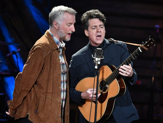 Billy Bragg and Joe Henry perform at the Americana