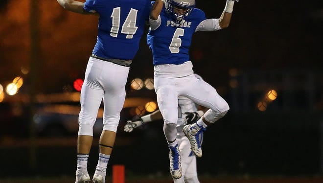 Poudre High School receiver Zach Leal, right, leads all area receivers in yardage and teammate Caden Oliver has two interceptions to rank among the top five in that category.