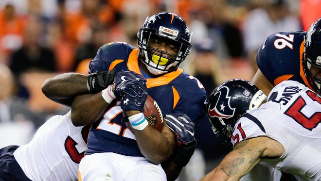 Broncos RB C.J. Anderson rushed for 107 yards Monday before being injured.