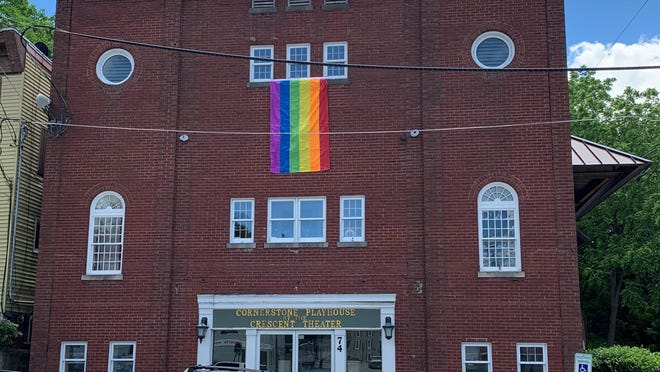 Above, the LGBTQ Pride flag is seen hanging from the Cornerstone Playhouse at the Crescent Theater in Sussex Borough. The Borough Council narrowly failed to approve a proposed Pride Month resolution earlier this month, but the Sussex County Board of Chosen Freeholders is expected to do so at its meeting Wednesday.