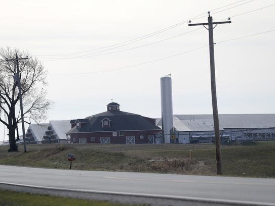 Ebert Dairy Enterprises farm buildings are seen from
