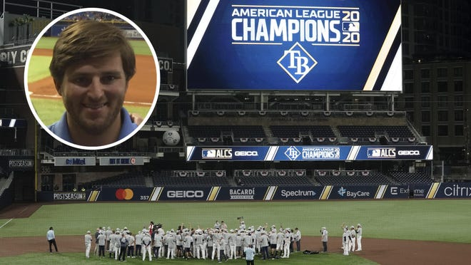 Peoria Richwoods graduate CJ Elger (inset) is a data technician in the baseball research and development department for the American League champion Tampa Bay Rays, who are facing the Los Angeles Dodgers in the 2020 World Series in Arlington, Texas.