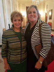 Misty Mayes, right, owner of Management Solutions LLC, and Small Business Association administrator Linda McMahon, left, at the White House for a meeting with President Trump about small businesses August 1, 2017.