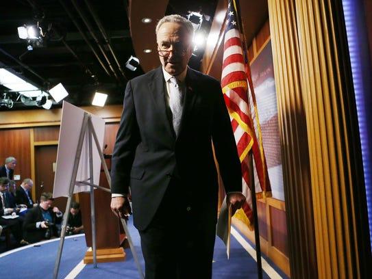 Senate Minority Leader Chuck Schumer, D-N.Y., departs