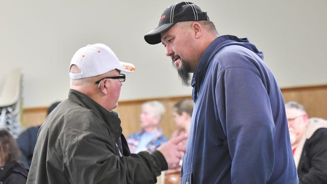 Gregg Bryan, left, and Eugene Lehr began a recall bid against Thetford supervisor Gary Stevens and trustee Stan Piechnik, who have looked into the equipment issues.
