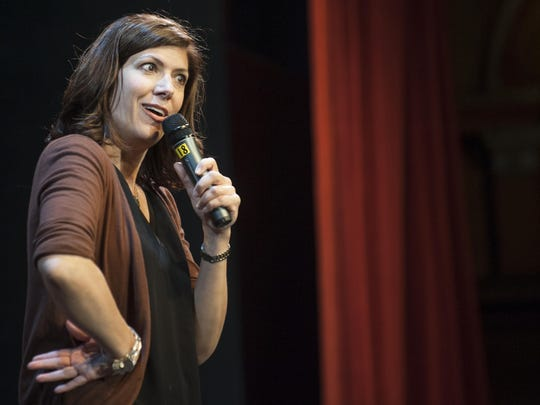 """Comedian Dena Blizzard performs during """"Salute.Laugh.Give,"""" a night of comedy at the Ritz Theatre Company that raised money for veterans last year. She will perform at the Ritz again on Aug. 10 as part of """"Honor.Laugh.Give,'' to benefit those fighting breast and gynecological cancers."""