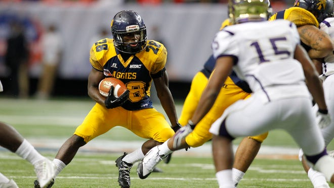 North Carolina A&T running back Tarik Cohen (28) rushed for 295 yards and three touchdowns in the 2015 Celebration Bowl at the Georgia Dome. North Carolina A&T defeated Alcorn State 41-34.