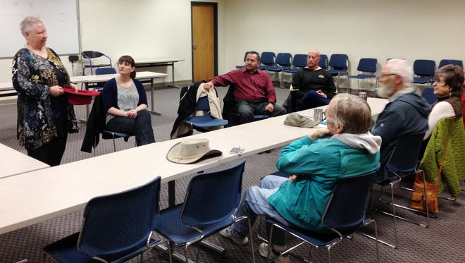 """Town Councilor Lynda Aiman-Smith, at left, hosted """"Conversations with a Councilor"""" on Thursday on the WNMU campus."""